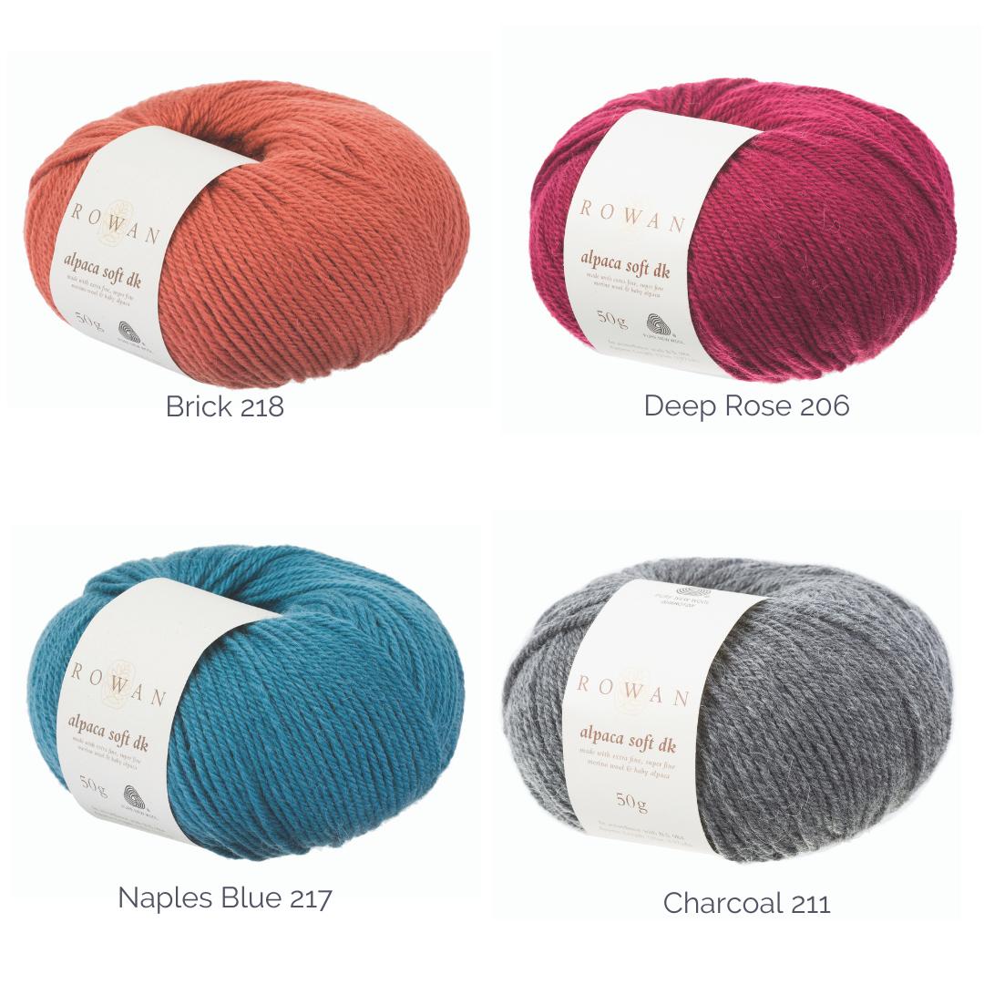 graphic of four balls of yarn Rowan alpaca Soft DK with yarn shades written next to balls