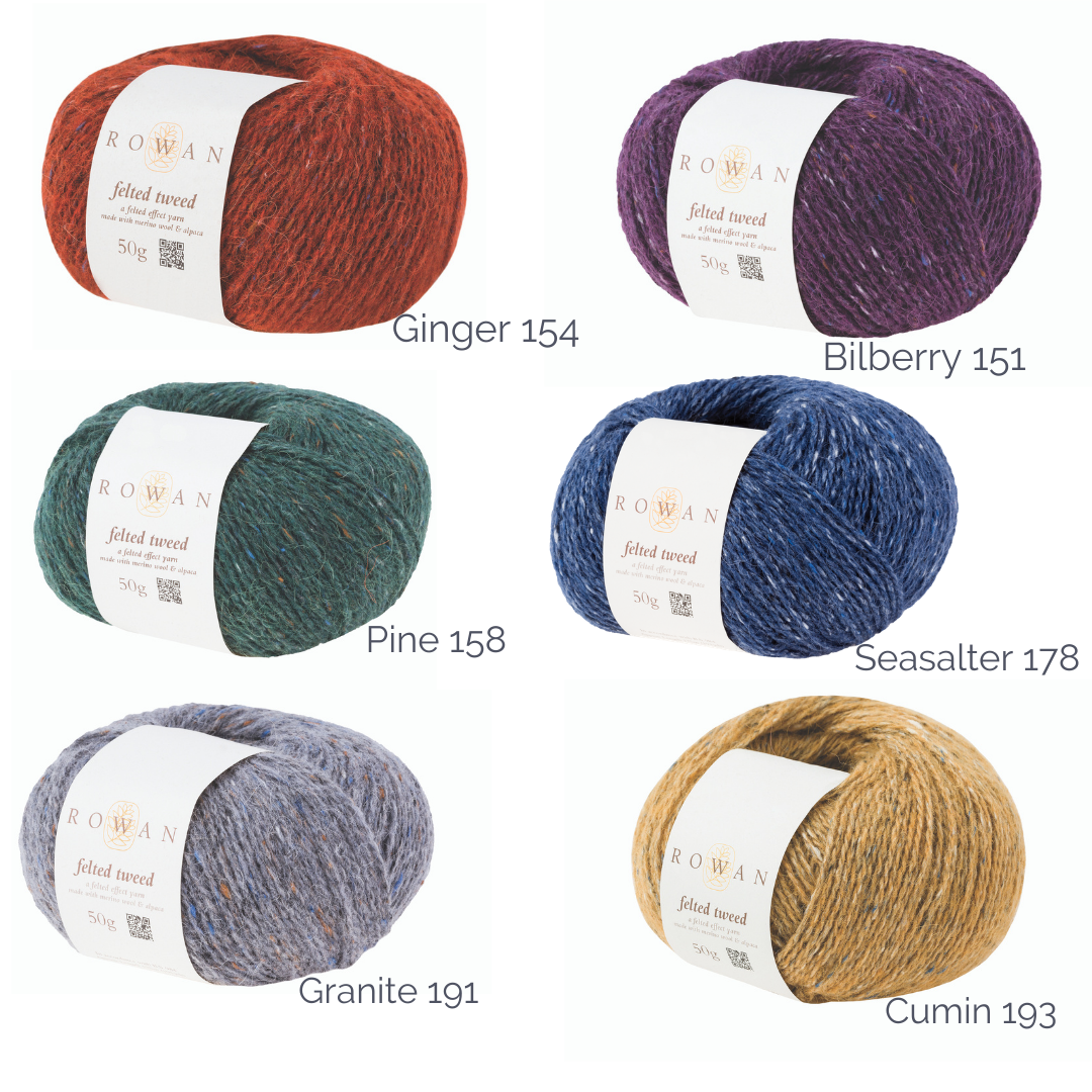 Graphic of close-up images of Felted Tweed DK knitting yarn shades.