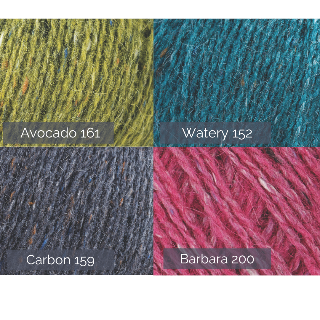 graphic showing collection of felted tweed DK shades.Four shades with names