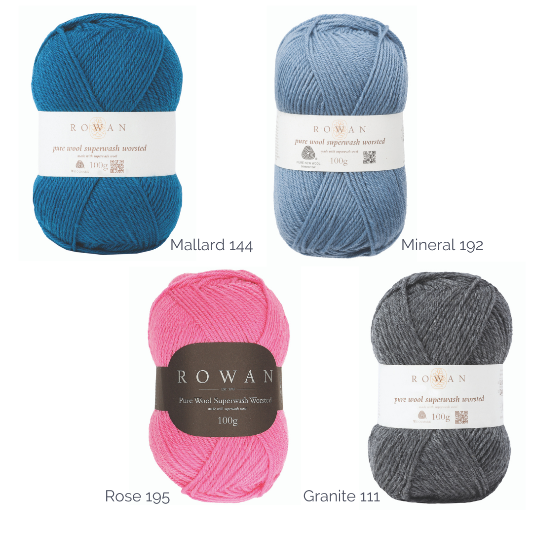 FOur balls of yarn, four shades. teal 'mallard' sky blue 'mineral' pink 'rose' and grey 'granite