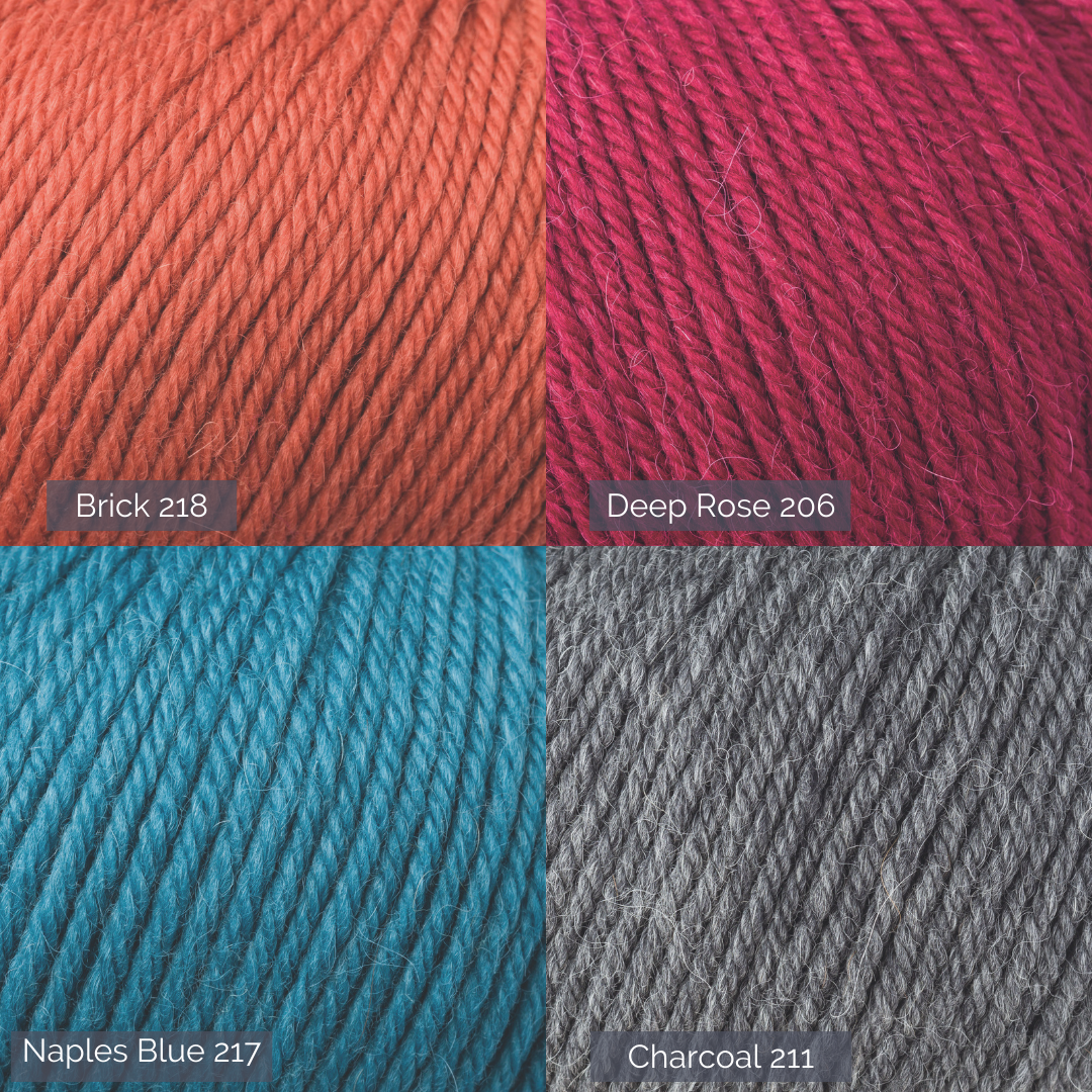Graphic of four close up images of Alpaca soft DK yarn