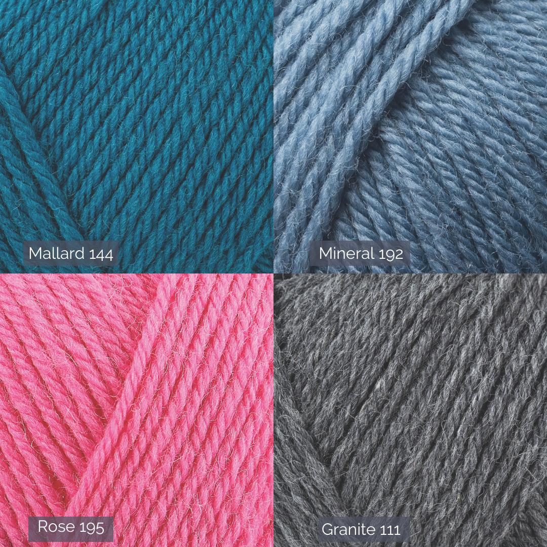 Four shades, closeups of yarn mallard, mineral, rose and granite
