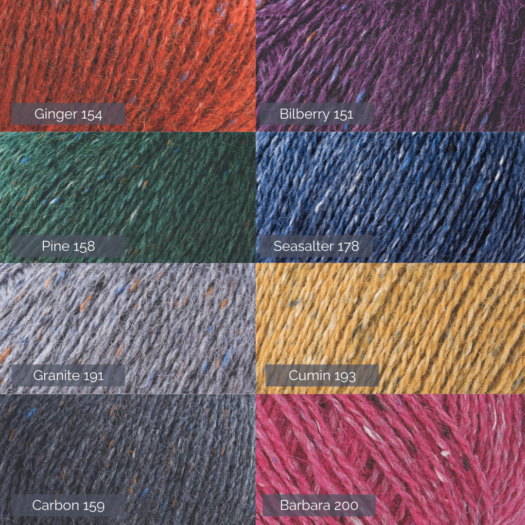 Graphic showing eight close up images of yarn with the shade and dye numbers