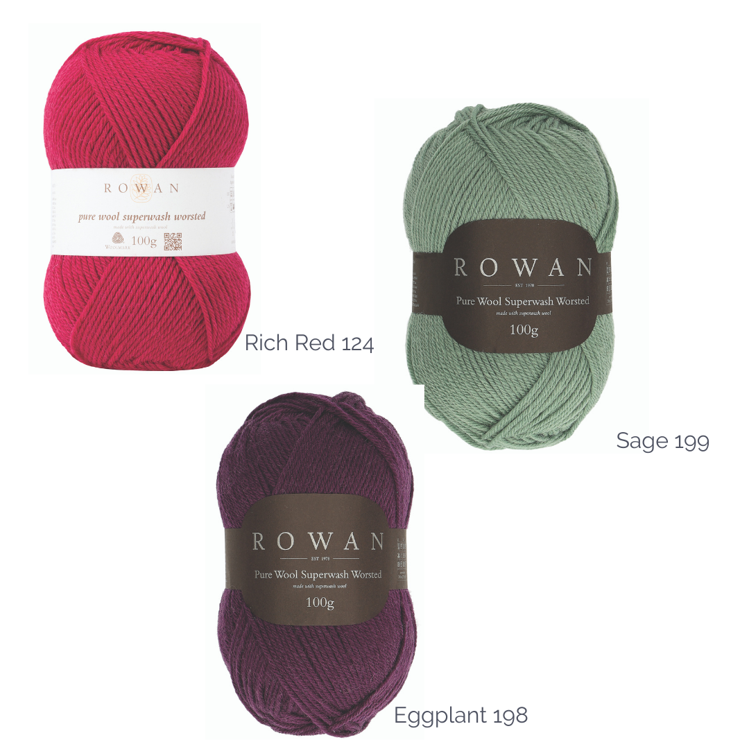 Three balls of rowan pure wool worsted yarn, pale green 'sage', 'rich red', and purple 'eggplant'