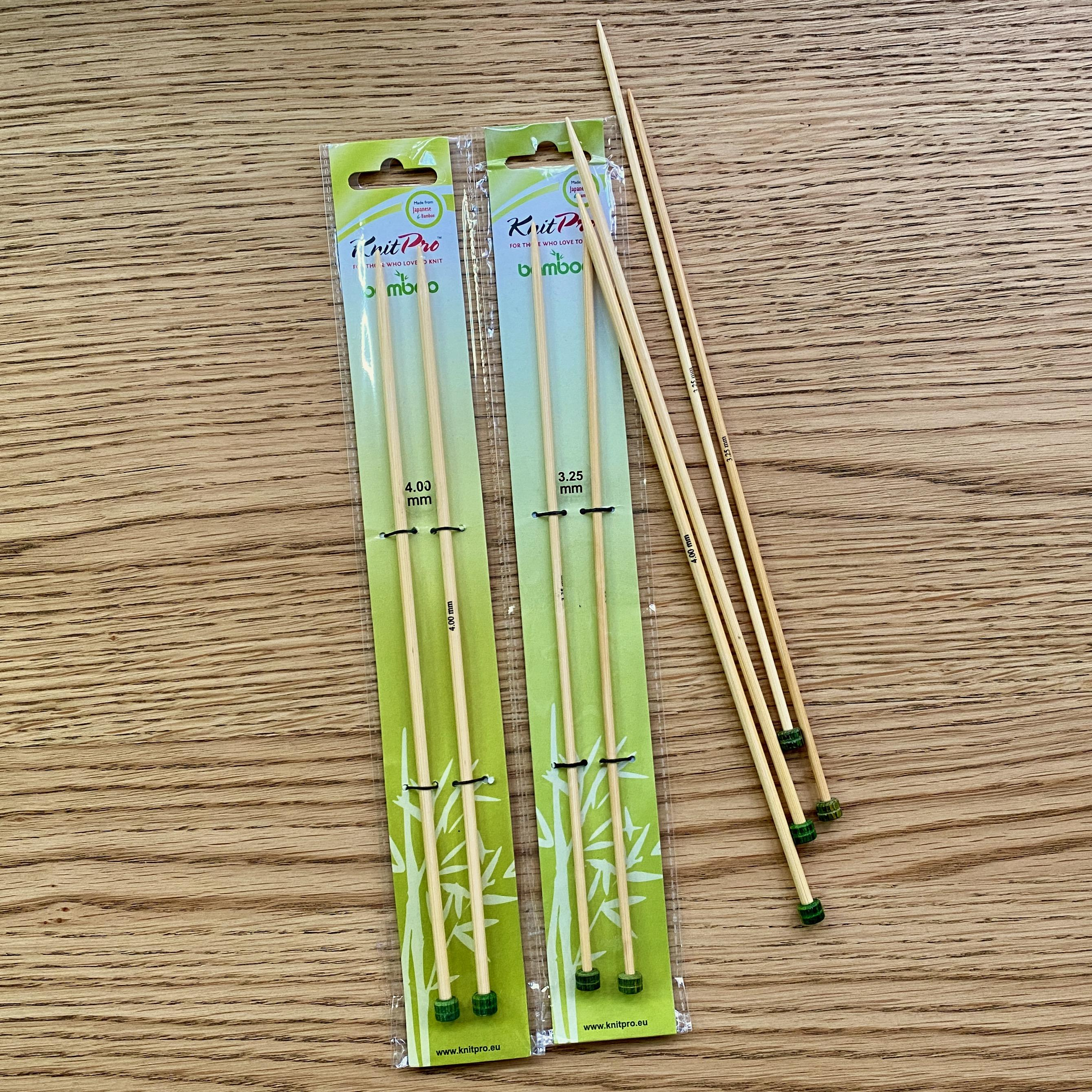 knit pro single pointed needle in green packaging