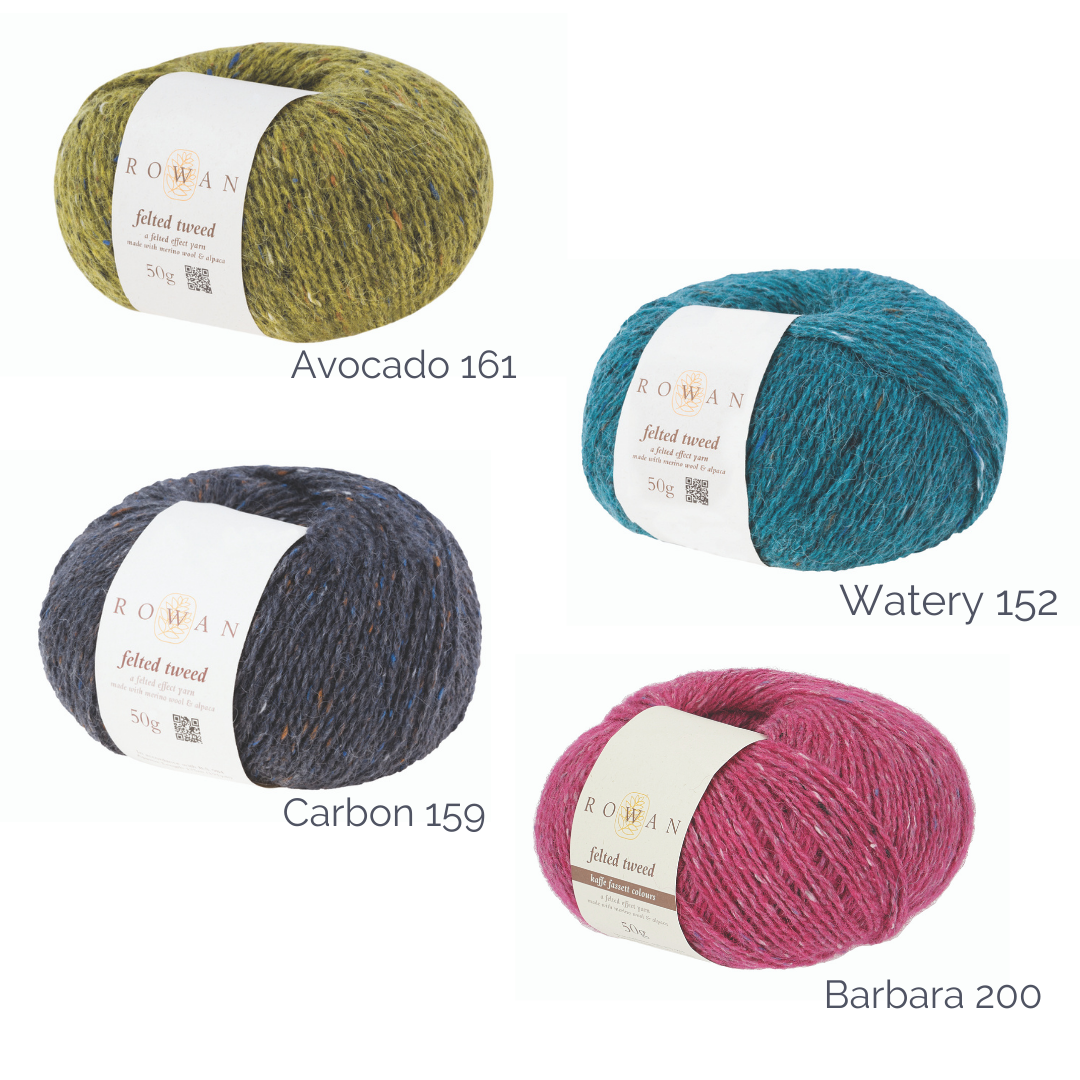 Graphic showing four balls of yarn, with their yarn colours and shade numbers