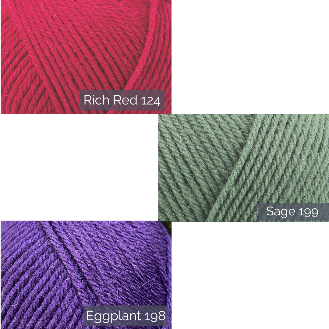 Three shades closeups for rowan pure wool worsted. Rich Red, Sage and Eggplant.