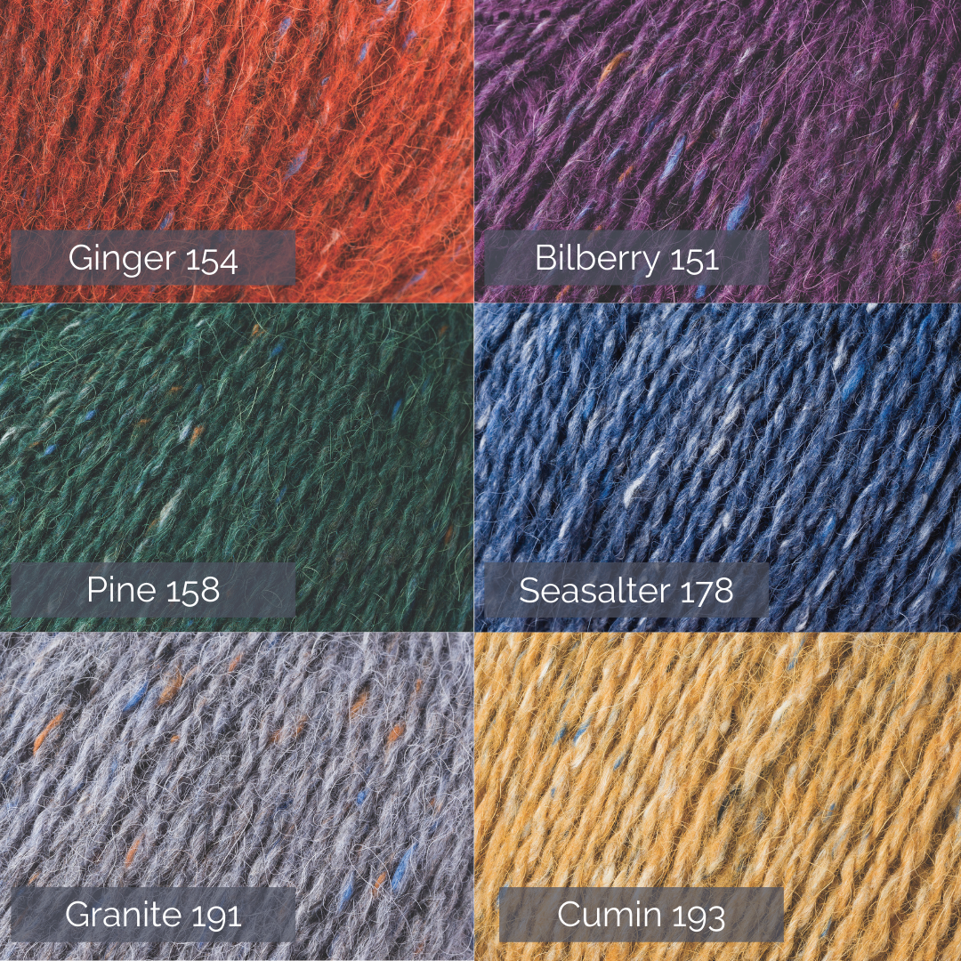Graphic showing six close up images of yarn with the shade and dye numbers