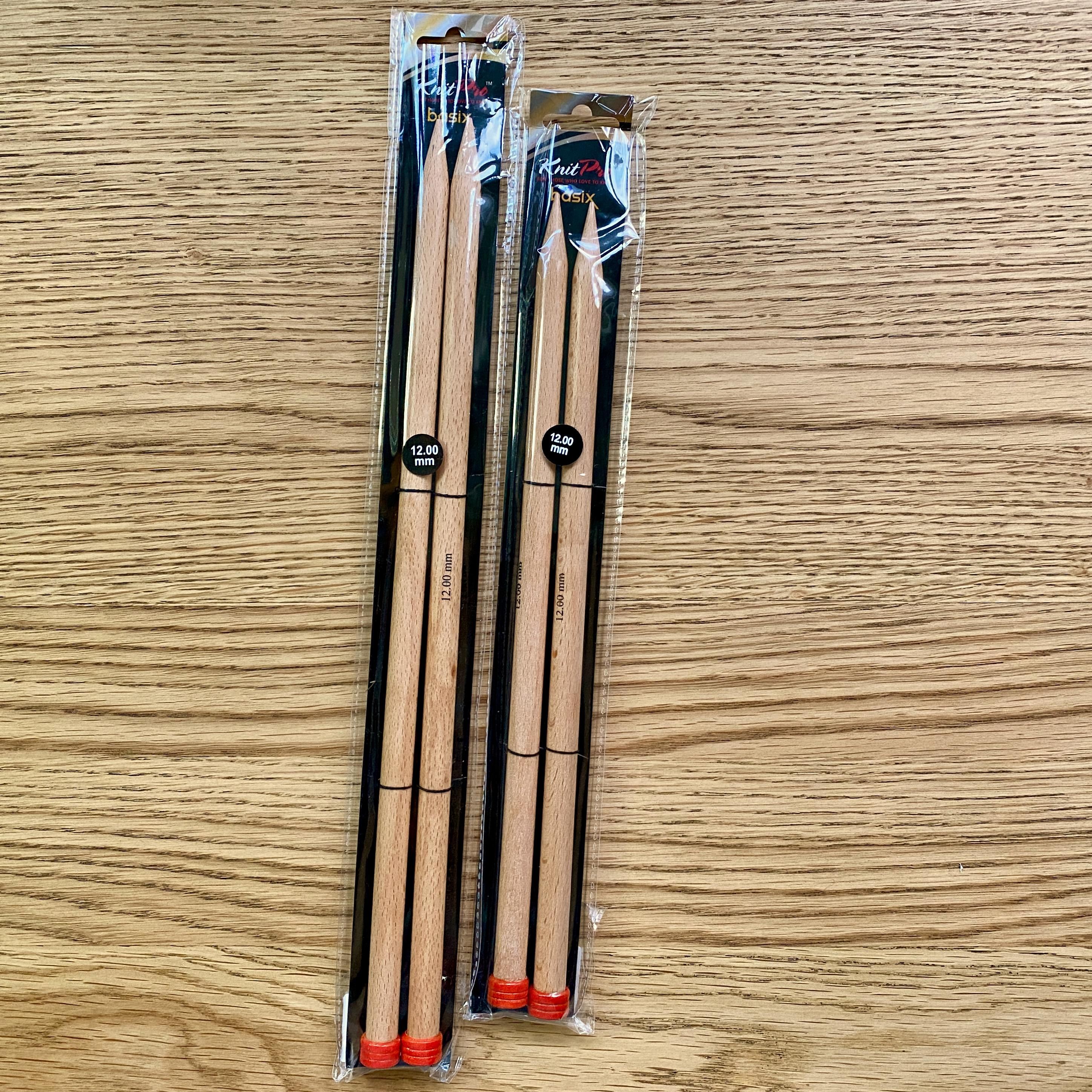 Knit Pro Birch needles in sizes 30cm and 35cm, with red stoppers and black and plastic packaging